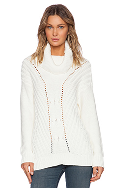 Michael Stars Long Sleeve Turtle Neck Pullover in Ivory
