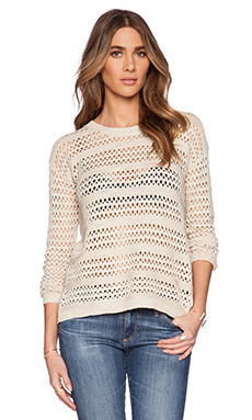 Michael Stars Long Sleeve Cross Back Sweater in Khaki