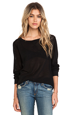 Michael Stars Long Sleeve Mesh Sweatshirt in Black