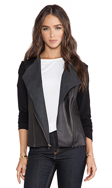 Michael Stars Zip Moto Jacket in Black