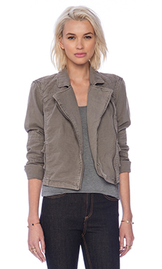 Michael Stars Crop Zip Up Moto Jacket in Stone
