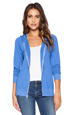 Michael Stars Raglan Zip Up Hoodie in Blue Ribbon