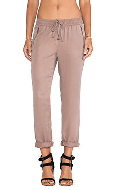 Michael Stars Drawstring Pull-on Pant with Zippers in Shitake