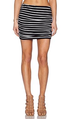 Michael Stars Shirred Mini Skirt in Black & White