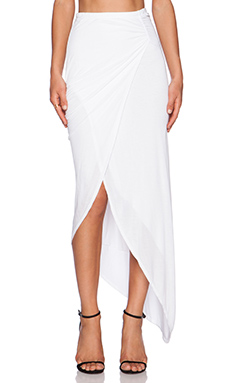 Michael Stars Asymmetrical Drape Skirt in White