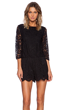 Michael Stars 3/4 Sleeve Lace Romper in Black