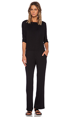 Michael Stars Solange 3/4 Sleeve Jumpsuit in Black