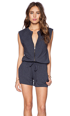 Michael Stars Zip Front Romper in Passport