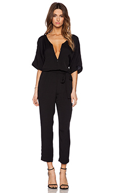 Michael Star 3/4 Sleeve Zip Front Jumpsuit in Black
