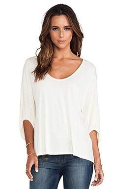 Michael Stars 3/4 Sleeve Swingy Cropped Top in Vanilla