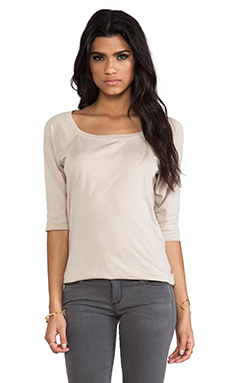 Michael Stars Elbow Sleeve Wide Neck Raglan Tee in Bamboo