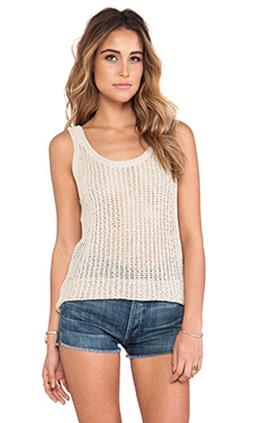 Michael Stars Double Scoop Neck Tank in Sand