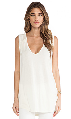 Michael Stars Double V Neck Shirt Tail Tank in Vanilla