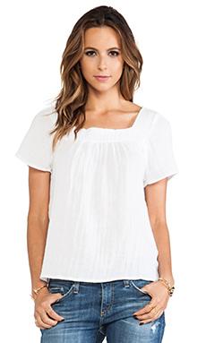 Michael Stars Short Sleeve Square Neck Blouse in White