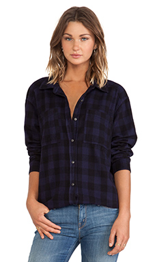 Michael Stars All Over Plaid Button Down in Nocturnal
