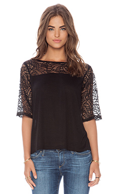 Michael Stars Boatneck with Lace Yoke Top in Black