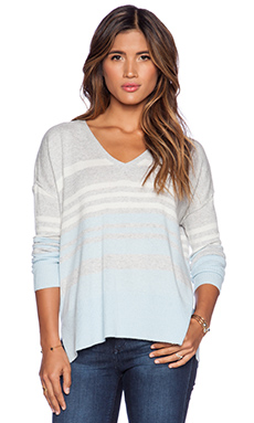 Michael Stars Long Sleeve V Neck Top in Heather Grey & Robin's Egg
