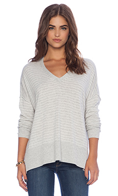 Michael Stars Long Sleeve V Neck Top in Heather Grey & Ivory