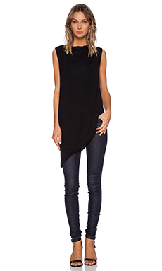 Michael Stars Sleeveless Asymmetrical Top in Black