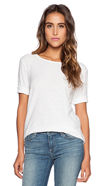 Michael Stars 3/4 Sleeve Crew Neck Tee in White