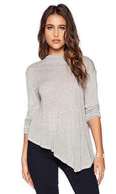 Michael Stars Long Sleeve Asymmetrical Mock Crop in Heather Grey