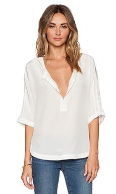 Michael Stars 3/4 Sleeve Split Neck Dolman in Ivory