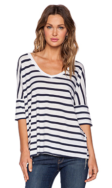 Michael Stars Striped V Neck Tee in White