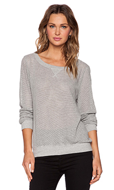 Michael Stars Long Sleeve Mesh Sweatshirt in Heather Girl