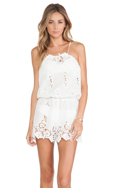 Miguelina Cicely Romper in White