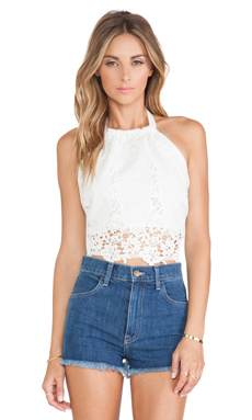 Miguelina Mari Lace Top in White