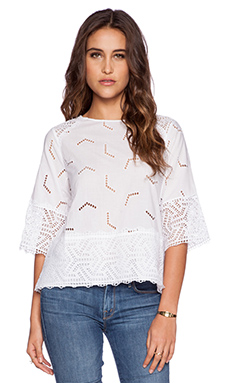 MiH Jeans The Phlox Top in White Embroidery