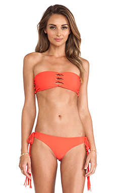 Mikoh Swimwear Monaco Cut-Out Knot Bandeau Top in Heliconia