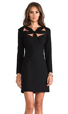 Milly RUNWAY Stretch Doubleweave Neckline Detail Dress in Black