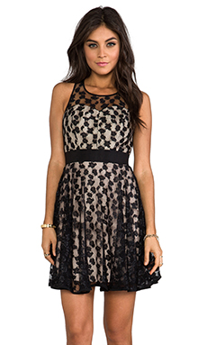 Milly Cheetah Lurex Lace Dress in Nude