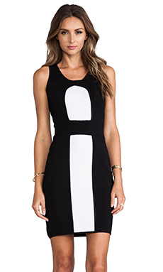 MILLY Body-Con Stretch Sheath Dress in Black & White