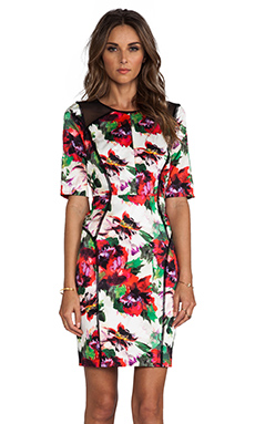 MILLY Floral Print Paneled Raw-Edge Sleeve Dress in Multi