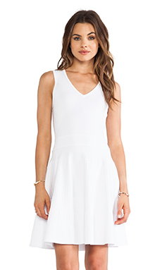MILLY Angled Rib Stretch Flare Dress in White