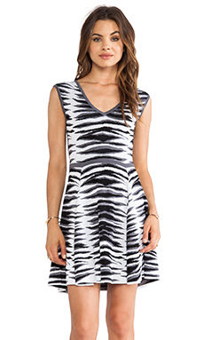 MILLY Ikat Jacquard Flare Dress in White & Black Multi