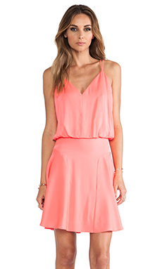 MILLY Stretch Silk Crepe Blouson Tank Dress in Fluo Coral