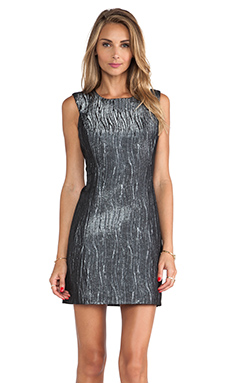 MILLY Metallic Shift Dress in Gunmetal