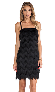 MILLY Fringe Dress in Black