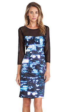 MILLY Elsa Mesh Paneled Dress in Multi