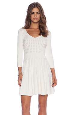 MILLY Cable Flare Dress in White