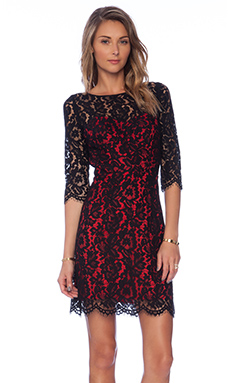 MILLY Ally Dahlia Lace Dress in Black & Red