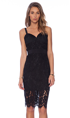 MILLY Dahlia Lace Corset Dress in Black & Black