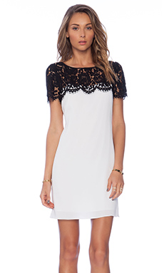MILLY Chelsea Lace Top Dress in ivory