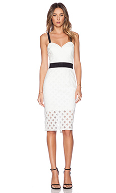 MILLY Mesh Corset Dress in White