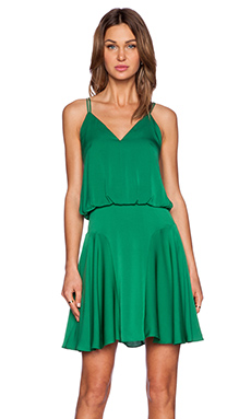 MILLY Silk Crepe Tank Dress in Emerald