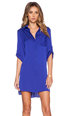 MILLY Silk Crepe Shirtdress in Cobalt