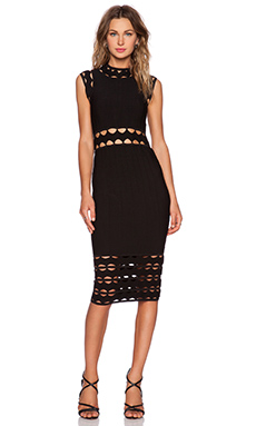 MILLY Open Inset Dress in Black
